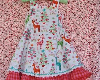 Christmas Ruffle Dress Scandinavian  Christmas Outfit for Toddlers Girls