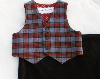 Baby Boys Plaid Vest  2T READY to SHIP Red & Gray Wool Flannel Christmas