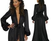 Simone robe in black silk charmeuse satin- floor-length robes, long dressing gown, glamorous retro vintage style gowns luxury lingerie
