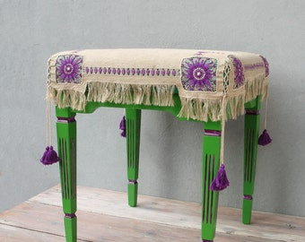 Victorian Embroidery Ottoman, Purple and Green Pouf Stool Bohemian Wooden Furniture Vintage Linen Drawn Thread Embroidery with tassles