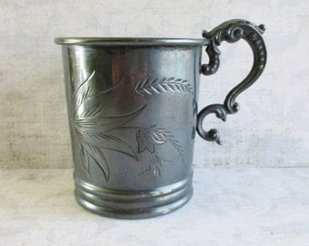 Antique Rockford Quadruple Silver Plate Mug - Letter N Engraved
