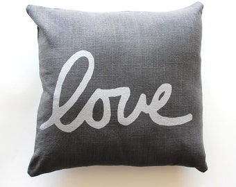 Grey Silver Love Throw Pillow - Hand Lettered Love Pillow - Cursive Font Love Pillow - Nursery Decor