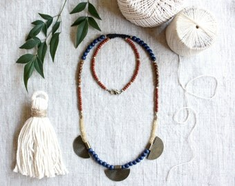 Long Beaded Necklace, Single Strand Necklace, Coin Necklace, Glass Bead Jewelry, Minimalist, Brass Faceted Beads, Wood Beads, Boho Jewelry