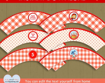 Little Red Riding Hood Cupcake Wrappers - INSTANT DOWNLOAD girl Storybook birthday picnic woodland theme #P-45 - you can edit text from home