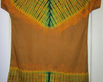 70s Kaftan Dashiki Dress Vintage 1970s Cotton Hand Tye Dye Caftan Ethnic Boho Maxi House Cruise Plus Size