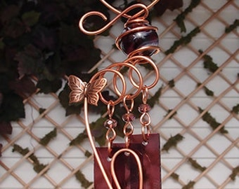 Butterfly Windchime Glass Wind Chimes Copper Garden Ornament Art Sculpture Stained Glass Metal Violet