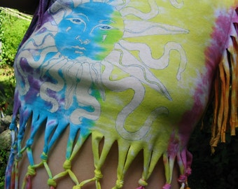 Tie Dyed and Bleach Fringe T shirt Summer Sun Rainbow Bohemian Chic Summer Wear for Hot Days