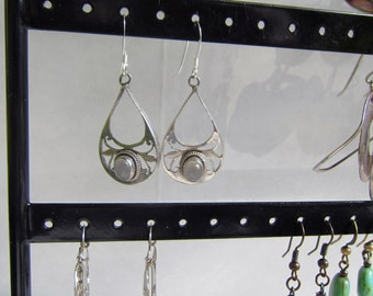 Sterling Silver Dangle Filigree Earrings with Grey Topaz Stone