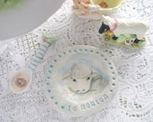 """Porcelain Ceramic Ring Dish with Painted Lamb and Pink Flower, Stamped French Letters """"le mouton"""", Blue and White"""