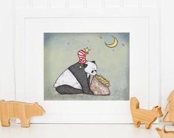 """Panda and Stars Children's Art Print  - """"Panda Wishes"""" Nursery Artwork Children's Room Decor Panda and Bag of Stars"""
