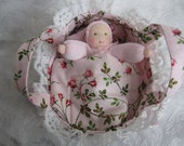 Waldorf Doll-Waldorf Bunting Doll and Bed,Waldorf Pocket Doll-Waldorf Doll Bed-Carry Cot-Doll Bassinet-Sweet Alyssum Dolls-Ready to Ship