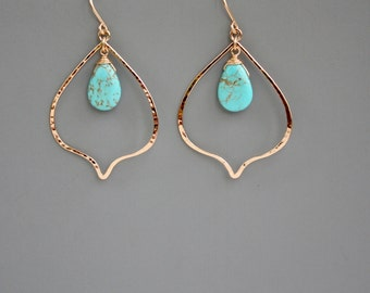 14K gold filled lotus with turquoise earrings, Rachel Wilder Handmade Jewelry