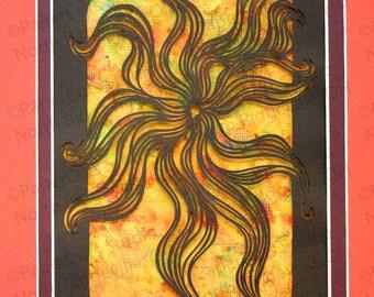 Pinwheel Papercutting, Handcut Original, Watercolor Background