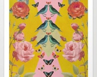 Love Birds collage art print- yellow- pink- blue- vintage- flowers- birds- nature-butterflies-wall art- home decor