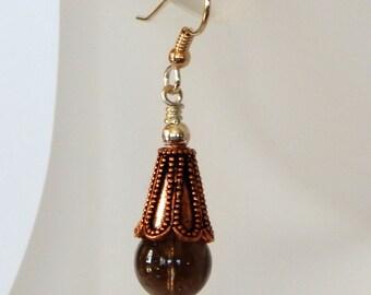 Smoky Quartz Boho Earrings Dangle Earrings Quartz Earrings Statement Earrings Smoky Quartz Jewelry Bohemian Jewelry Gift For Her