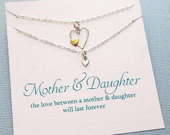 Mother Daughter Necklace | Heart Necklace Set, Mother Daughter Jewelry Set, Gifts for Mom, Mother Daughter Gift, Mom Jewelry | MD02