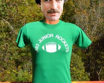 vintage 80s t-shirt junior ROCKETS football soft thin green tee Medium Small 1983