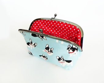 Cosmetic bag, Boston Terrier fabric, French Bulldog, cotton purse