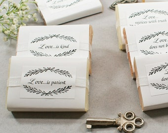 10 Soap Bridal Favors | Party Mementos, Wedding Favors for Guests, Rehearsal Dinner Favors, Inspirational, First Corinthians, Bible Verses