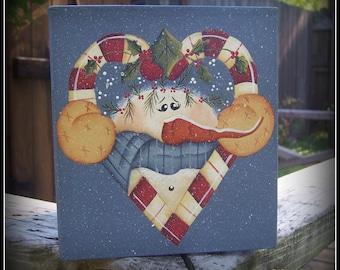 Candy Cane-Snowman-Paper Mache Tissue Box Holiday Home Bath Decor