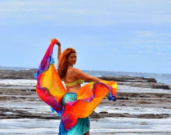 Belly dance costume two half circle double silk veils spinning flags poi art flow  MADE TO ORDER