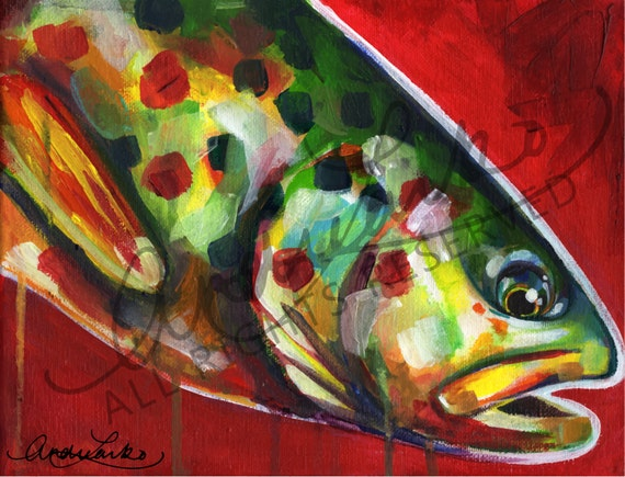Trout Painting Acrylic