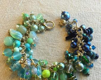 Charm bracelet, beaded bracelet, handmade, blue, green,  original design, FREE SHIPPING