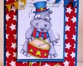 26 Big Drummer Hippo Digi Stamp  SALE