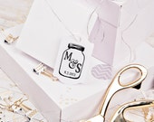Mason Jar rubber stamp custom monogram in a mason jar great for wedding rubber stamps 2 x 3 --5701
