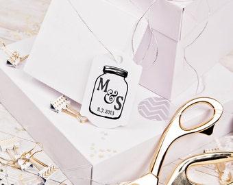 Mason Jar rubber stamp custom monogram in a mason jar great for wedding rubber stamps 2 x 3 --5701