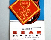 BSA Cub Scout Bear Patch on Card - 1960