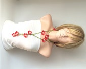 Spring,  Red Flower Cotton Necklace, scarf, lariat