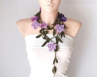 New Dark Green Leaf and Lilac, Purple Flower Cotton Necklace, scarf, lariat