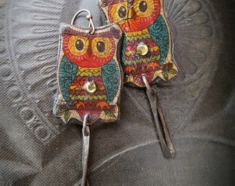 Copper Earrings, Owls, Wildlife, Birds, Cute, Unique, Crackle Art, Retro, Folk Art, Earthy, Rustic, Beaded Earrings