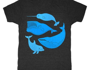 Vintage Whale Chart - Unisex Mens T-Shirt Narwhal Nautical Humpback Dolphin Nemo Dory Aquarium Ocean Sea Sailing Vintage Chart Tee Shirt