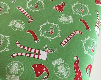 Christmas fabric, Pixie Noel fabric, Holiday fabric, Tasha Noel by Riley Blake, Cotton fabric, Pixie Socks in Green,  Choose the cut