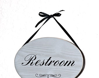 Oval Wall Plaque, Restroom Hanging Sign, Home Decor Wooden, Modern Country Distressed Cottage, Bathroom Decor, Bath Door Hanging Signage