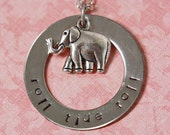 Hand Stamped Roll Tide Roll Washer Necklace