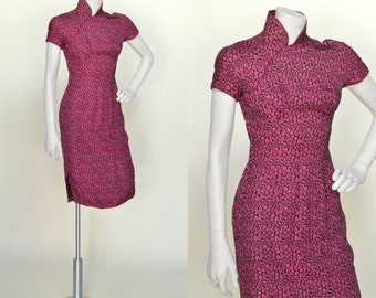 1960s Mandarin Collar Dress --- Vintage Hot Pink Floral Dress