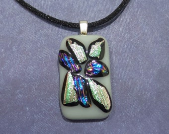 Fuseed Glass Necklace, White, Green, Purple, Blue, Etsy Fashion Jewelry, Ready to Ship - Powered - 1727 -5
