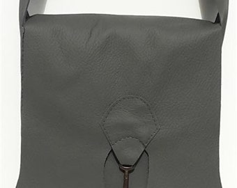 SALE Raw edge leather bag with vintage key - grey