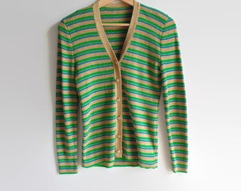 Shiny Striped Cardigan, Vintage Knit Womens 70s Clothing, Gold Metallic Fabric, 1970s Clothes, Size 6, Jane Irwill, Beige Teal Green Jacket