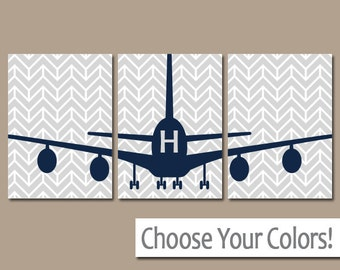 AIRPLANE Wall Art, CANVAS or Prints Baby Boy Nursery Decor, PLANES Wall Art, Airplane Theme, Personalized Boy Name Decor Pictures Set of 3