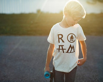 ROAM tshirt -  boy's graphic tee - boy's top - camping print on organic cotton - adventure shirt - back to school - unisex clothing