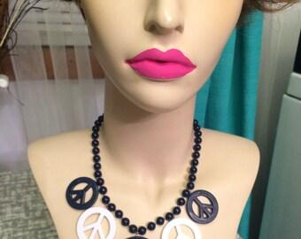 Vintage Peace charm necklace Blue White plastic DEADSTOCk