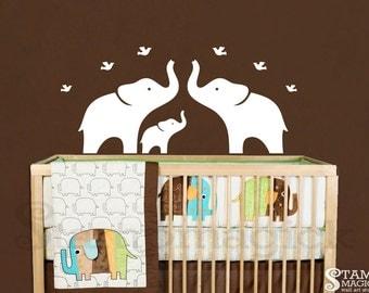 Elephant Wall Decal - Nursery Wall Decal - White Elephants Vinyl Wall Decor graphics art mural baby room children bedroom - K118X