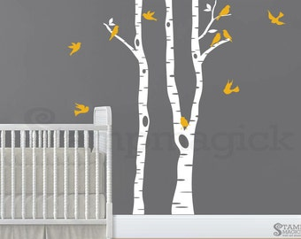 Birch Trees Wall Decal for Nursery or Baby's Room - birch forest vinyl wall art sticker - K268SY