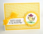 Handmade Easter Card - Happy Easter Card - Favorite Peep - Yellow Easter Chick Card - Cute Easter Cards - Hand Stamped Easter Card