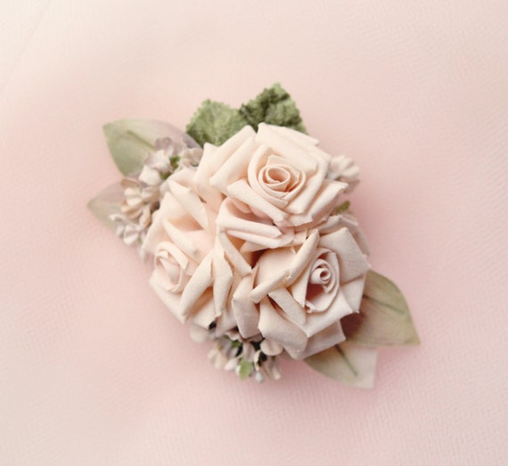 Pink rose hair clip, Vintage millinery clip, Blush floral, bridal headpiece, Pastel pink rose, Bridal hair, Updo hair clip flower