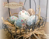 Shabby farmhouse Easter basket filled with fabric eggs Rustic Primitive retro cottage charm svfteam